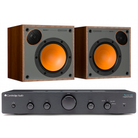 Cambridge Audio Topaz AM5 Black + Monitor Audio Monitor 50 Walnut