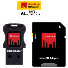 Strontium - MicroSDXC 64GB Class 10 UHS-I Nitro 566x + SD adapter + USB Card Reader